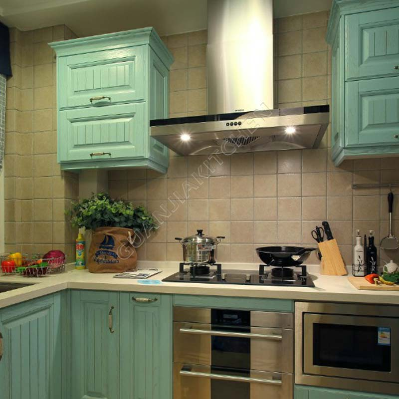 Light Green PVC Kitchen Cabinets