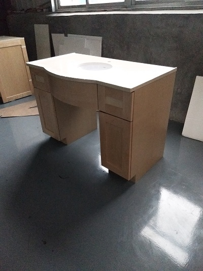 natural wooden vanity cabinet