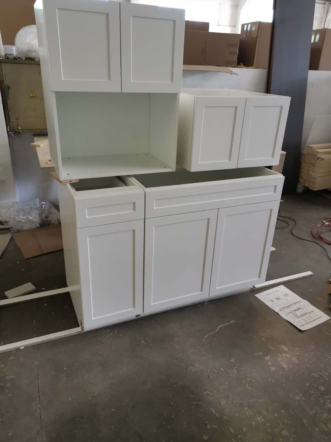 pvc shaker upper cabinets and base cabinets