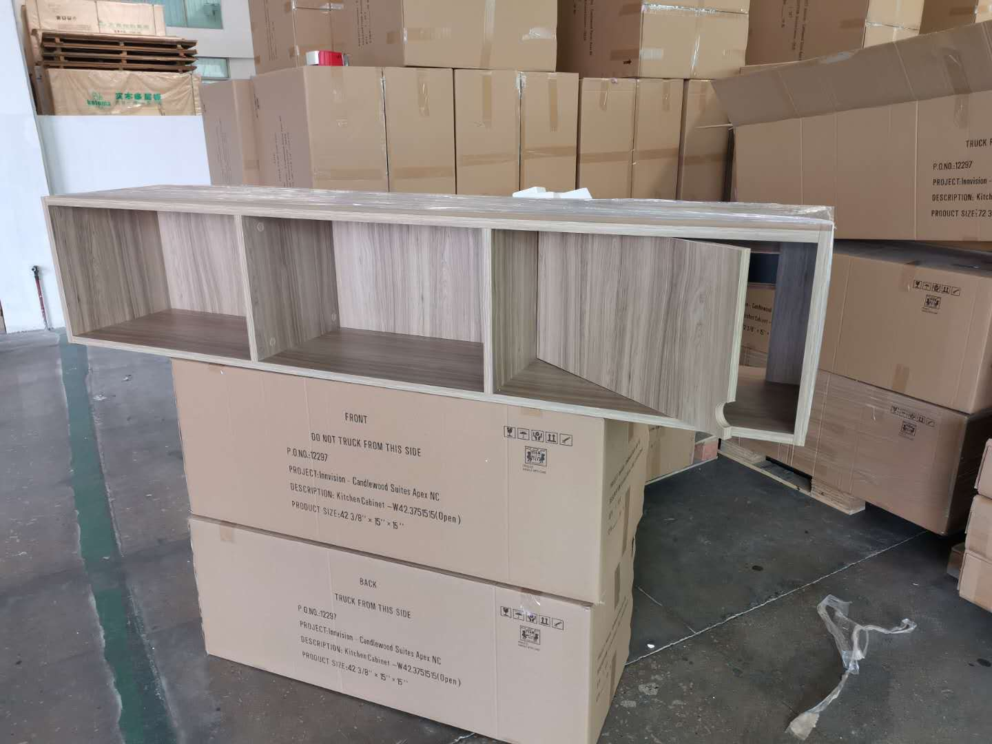 Formica plastic laminated open cabinets